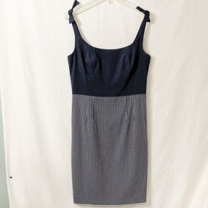 Vintage 90s Blue Nanette Lepore Midi Check Dress